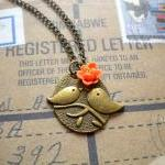 Kissing Couple Pendant - Bird Neckl..