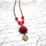 Flower Necklace - Heart Necklace - ..