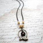 Bird Cage Pendant - Bird Necklace -..