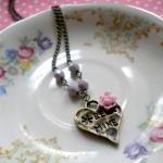 Heart Necklace - Lilac Flower Caboc..