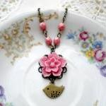 Pink Flower Necklace - Bridesmaid N..