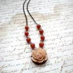 Flower Necklace with Latte Rose Cab..