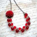 Red Flower Cabochon Necklace - Vint..