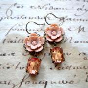 Flower Earrings - Vintage Earrings - Latte Earrings - Bridesmaid Earrings
