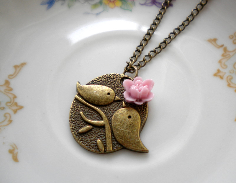 Kissing Couple Pendant - Bird Necklace - Lilac Flower Necklace