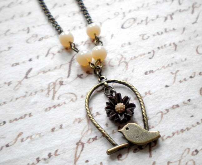 Bird Cage Pendant - Bird Necklace - Brown and Cream Necklace