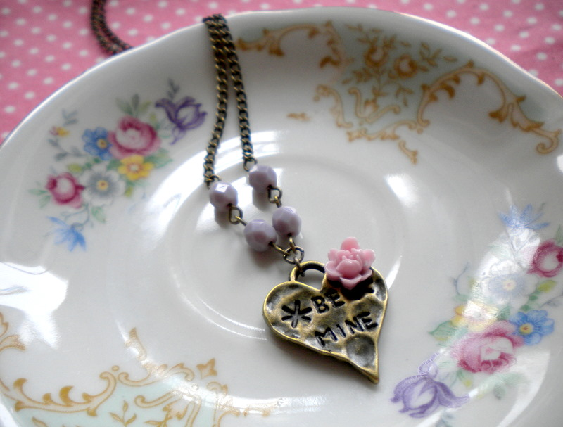 Heart Necklace - Lilac Flower Cabochon Necklace