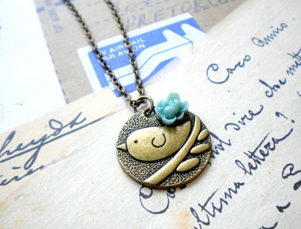 Bird Necklace - Flower Necklace - Vintage Necklace
