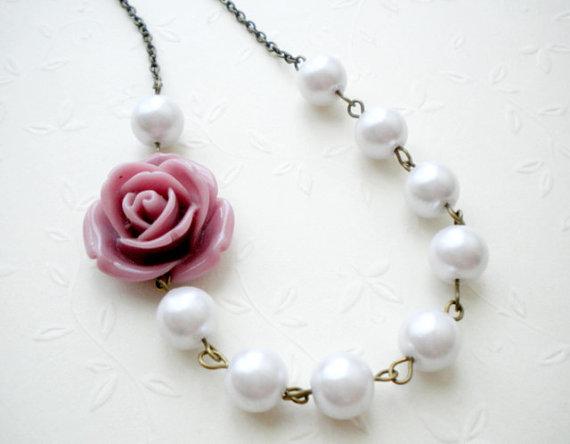 Bridesmaid Necklace - Purple Flower Necklace - Bridal Necklace