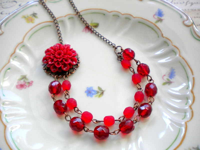 Red Flower Cabochon Necklace - Vintage Necklace - Christmas Necklace