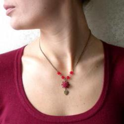 Flower Necklace - Heart Necklace - Maroon Flower Red Glass Necklace - Vintage Necklace