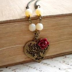 Vintage Necklace - Heart Necklace - Maroon Necklace - Flower Cabochon Necklace