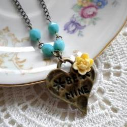 Heart Necklace - Flower Cabochon Necklace - Turquoise Necklace