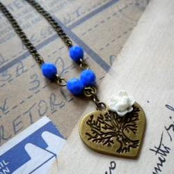 Heart Necklace - Blue White Flower Cabochon Necklace