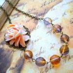 Bib Necklace - Peach Vintage Rose Flower Necklace