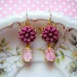 Flower Cabochon Earrings - Pink Fuschia Flower