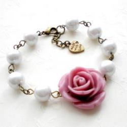 Bridesmaid Bracelet - Glass Pearl Bracelet - Purple Flower Bracelet